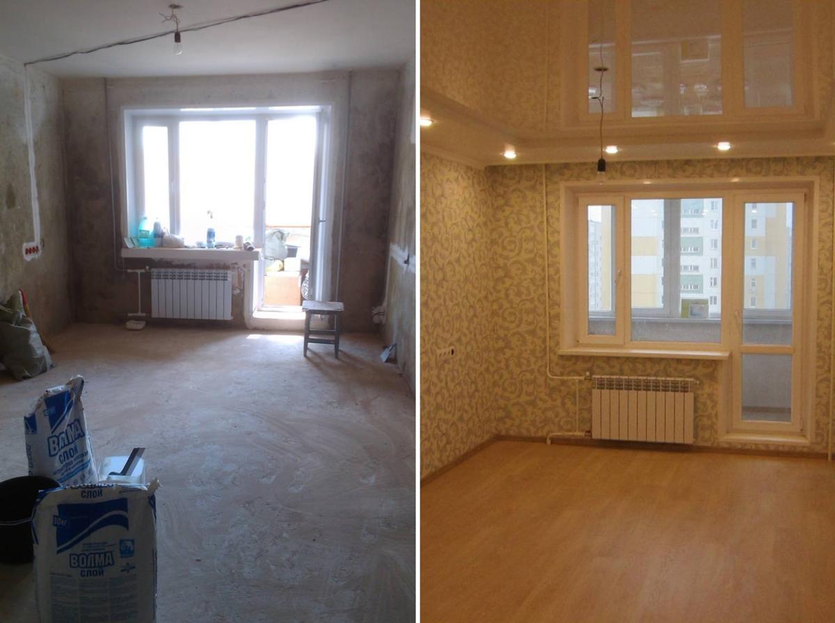 Ремонт однокомнатной квартиры своими руками фото до и после